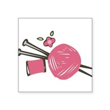 "Knitting Needles Square Sticker 3"" x 3"""
