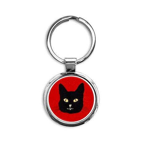 Black Cat Face Round Keychain