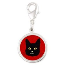 Black Cat Face Silver Round Charm