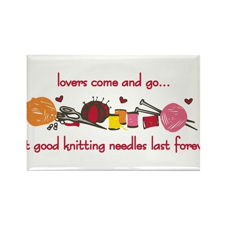 Knitting Needles Last Forever Rectangle Magnet