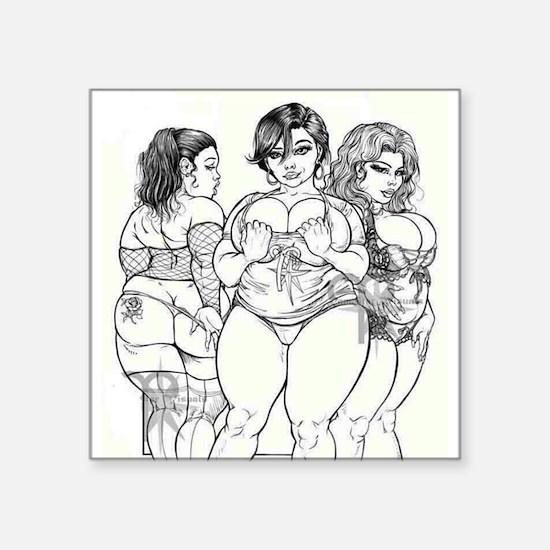 "Big Beautiful Women t shirt Square Sticker 3"" x 3"""