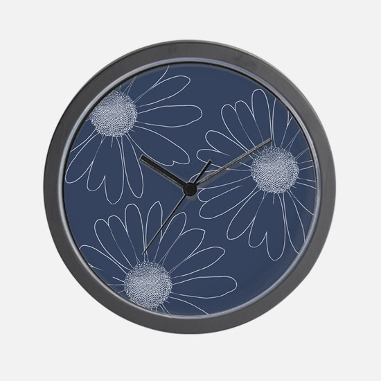 Blue and White Daisies Wall Clock