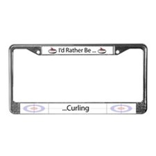 I'd Rather Be Curling License Plate Frame