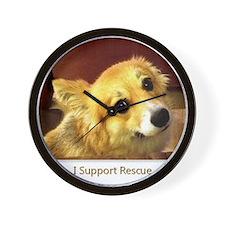 I Support Rescue Corgi Wall Clock