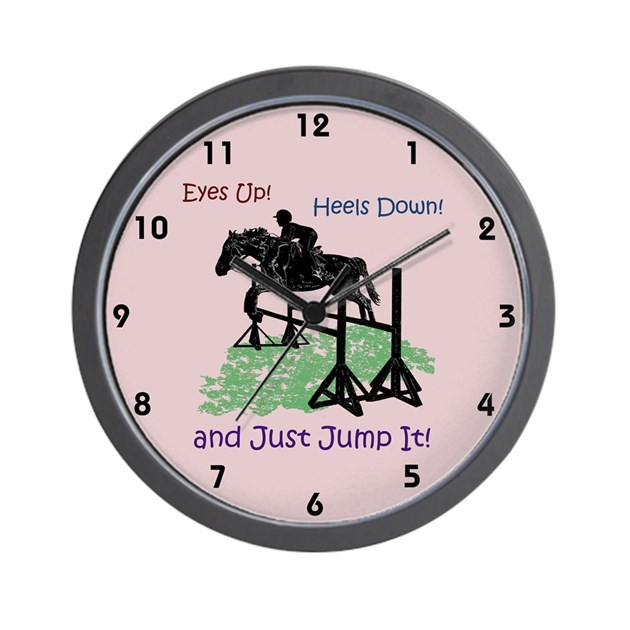 Fun Hunter Jumper Equestrian Horse Wall Clock By Pattyspetart