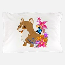 Red and White Corgi with Floral design Pillow Case