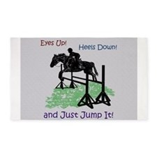 Fun Hunter/Jumper Equestrian Horse 3'x5' Area Rug
