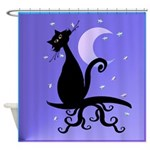 Midnight Kitty on a Branch Shower Curtain