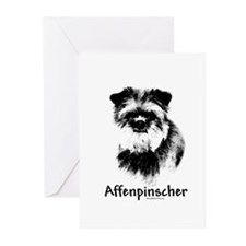 Affenpinscher Charcoal Greeting Cards (Package of