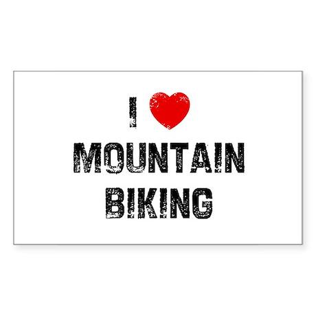 I * Mountain Biking Rectangle Sticker