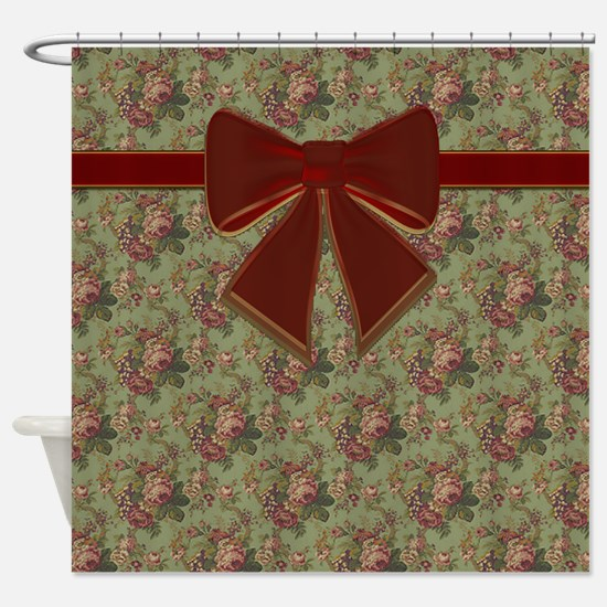 Vintage Floral Pattern With Red Bow Shower Curtain