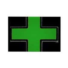 Green Medical Cross (Bold/ black background) Recta