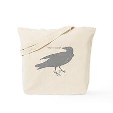 Grey Nevermore Raven Tote Bag