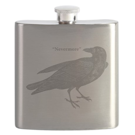 Grey Nevermore Raven Flask