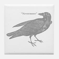 Grey Nevermore Raven Tile Coaster