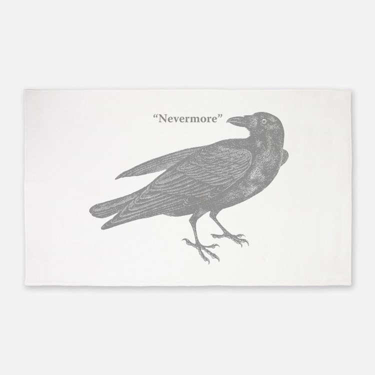 Grey Nevermore Raven 3'x5' Area Rug