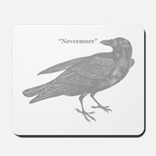 Grey Nevermore Raven Mousepad