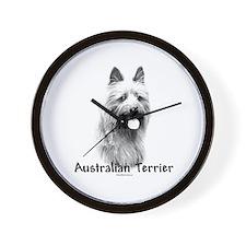 Australian Terrier Charcoal Wall Clock