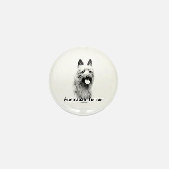Australian Terrier Charcoal Mini Button