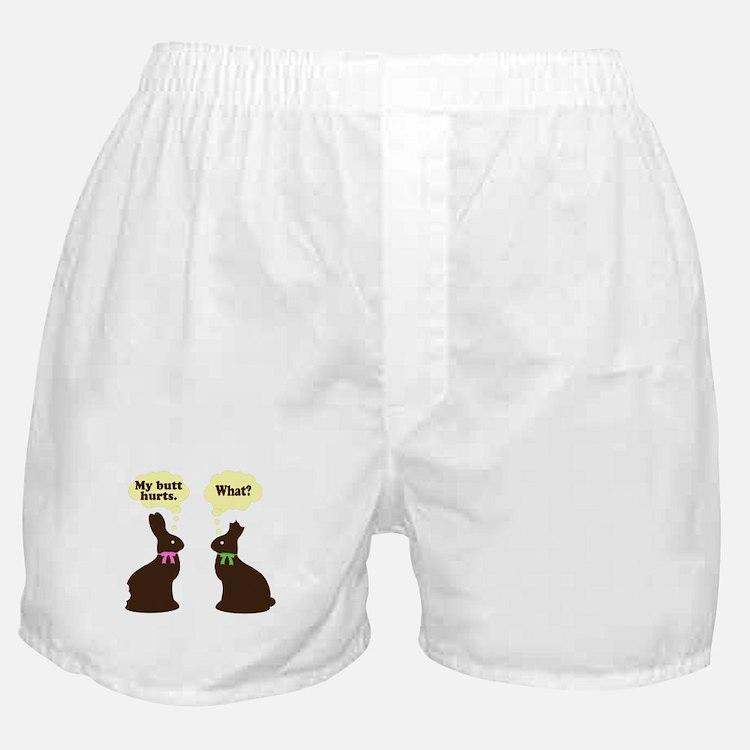 My butt hurts Chocolate bunnies Boxer Shorts