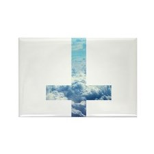 Cloudy Cross Rectangle Magnet