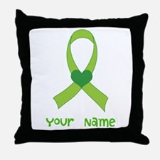 Personalized Green Heart Ribbon Throw Pillow