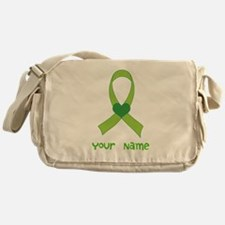 Personalized Green Heart Ribbon Messenger Bag