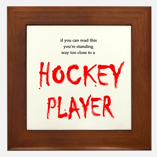 Too Close Hockey Framed Tile