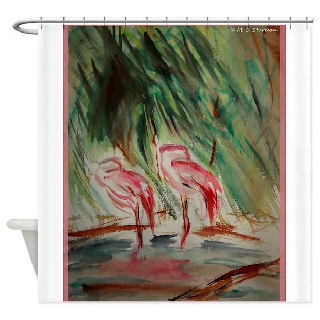 Flamingos Bird Wildlife Art Shower Curtain By