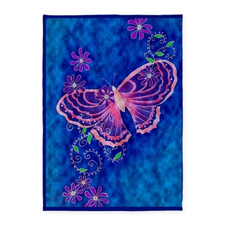 Pink Butterfly on blue 5'x7'Area Rug