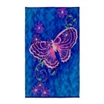 Pink Butterfly on Blue 3'x5' Area Rug