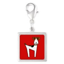 graphic terrier (red) Silver Square Charm