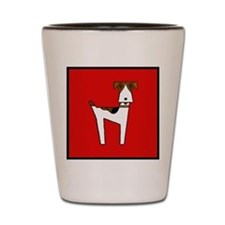 graphic terrier (red) Shot Glass