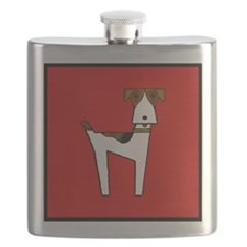 graphic terrier (red) Flask