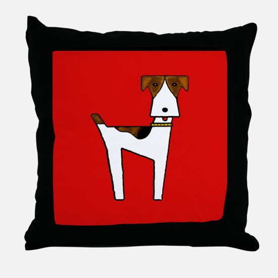 graphic terrier (red) Throw Pillow