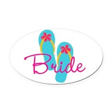 Flip Flop Bride Oval Car Magnet