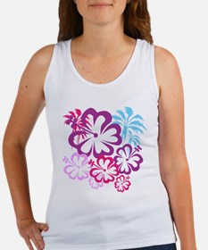 Summer Beach Purple Pink Palm Trees and Flowers Ta
