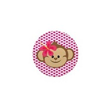 Girl Monkey Love Mini Button