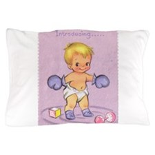 Vintage Baby Boy Birth Announcement Pillow Case