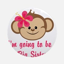 Big Sister to Be Pink Monkey Ornament (Round)