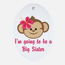 Big Sister to Be Pink Monkey Ornament (Oval)