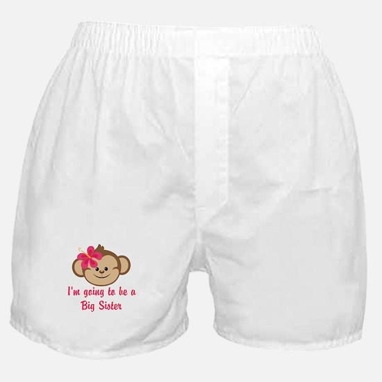 Big Sister to Be Pink Monkey Boxer Shorts