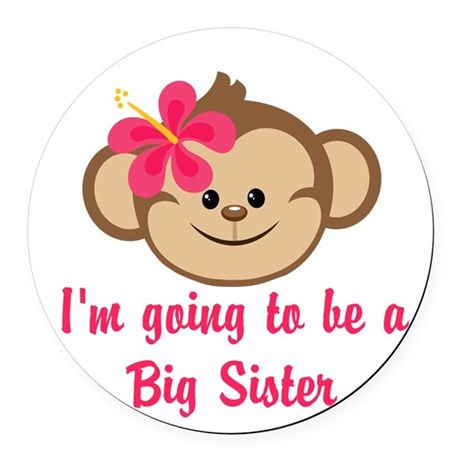 Big Sister to Be Pink Monkey Round Car Magnet