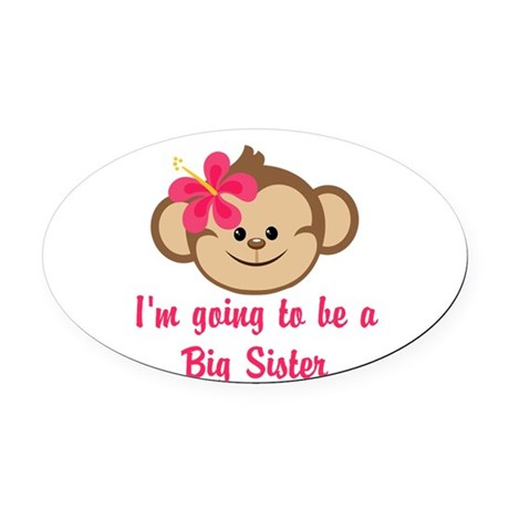 Big Sister to Be Pink Monkey Oval Car Magnet