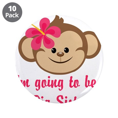 """Big Sister to Be Pink Monkey 3.5"""" Button (10 pack)"""