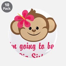 "Big Sister to Be Pink Monkey 3.5"" Button (10 pack)"