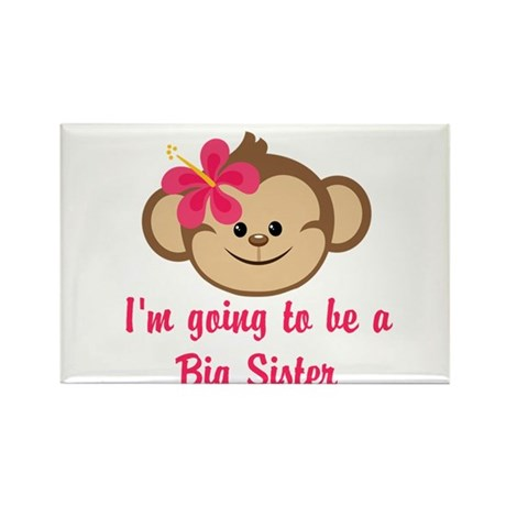 Big Sister to Be Pink Monkey Rectangle Magnet