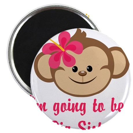 "Big Sister to Be Pink Monkey 2.25"" Magnet (100 pac"
