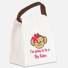 Big Sister to Be Pink Monkey Canvas Lunch Bag