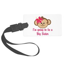 Big Sister to Be Pink Monkey Luggage Tag